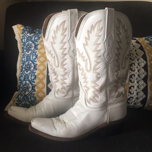 Shoes - White Leather Western Boots